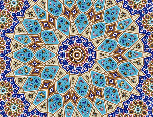 عکس با کیفیت کاشی کاری سقف مسجد