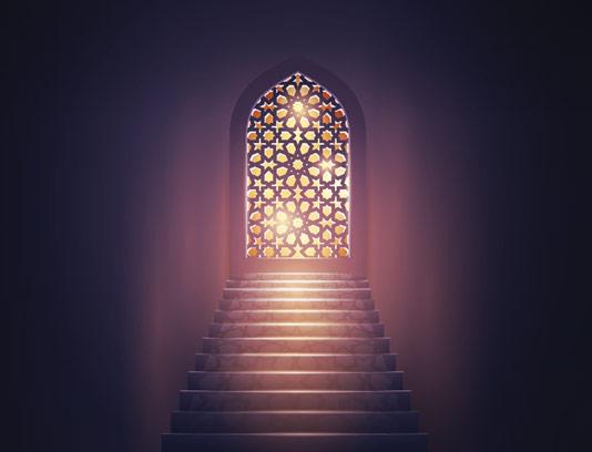 وکتور پنجره با پترن اسلامی و نور زمینه