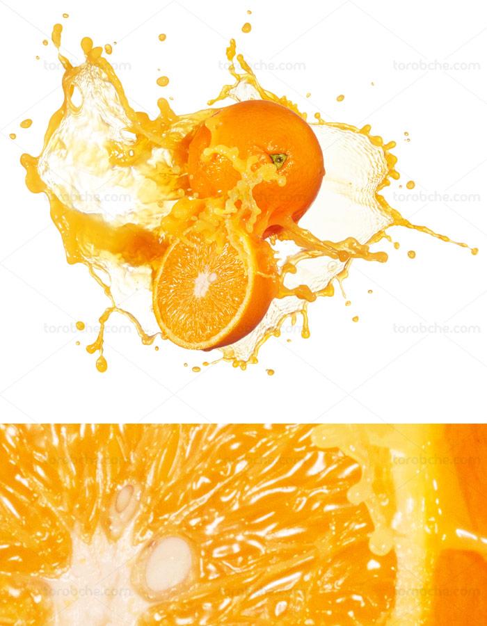 عکس با کیفیت پاشیده شدن آب پرتقال
