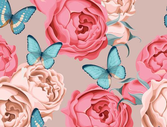 وکتور پترن گل رز صورتی و پروانه