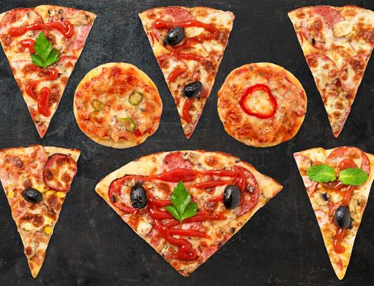 طرح لایه باز تصاویر دوربری شده برش پیتزا