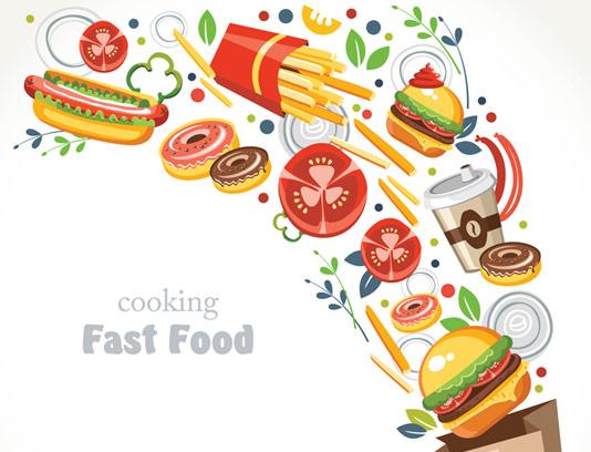 وکتور طرح غذاهای فست فودی