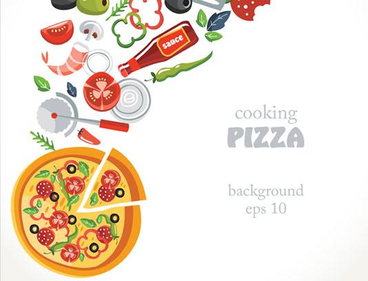وکتور پس زمینه پیتزا و مواد لازم برای تهیه آن