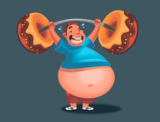 وکتور مرد چاق در حال ورزش کردن با وزنه پیراشکی