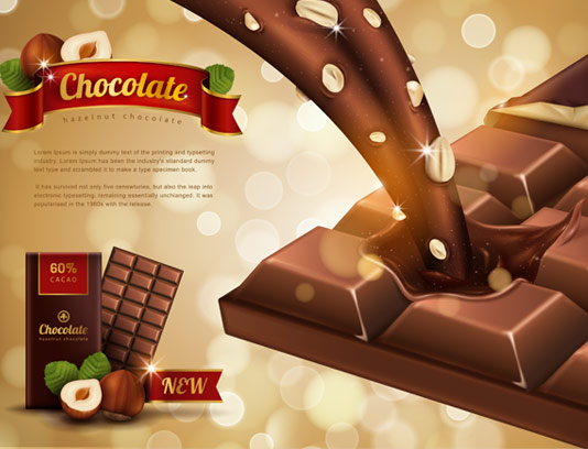 وکتور لایه باز طرح تبلیغاتی خلاقانه شکلات فندقی