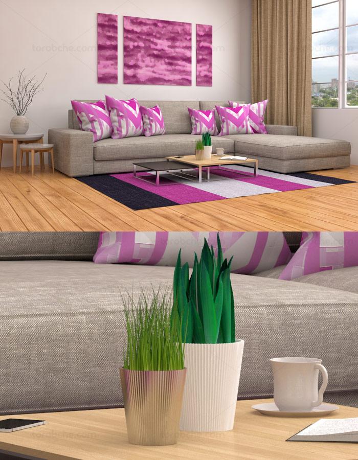 عکس با کیفیت طراحی داخلی منزل با ست کرم و صورتی
