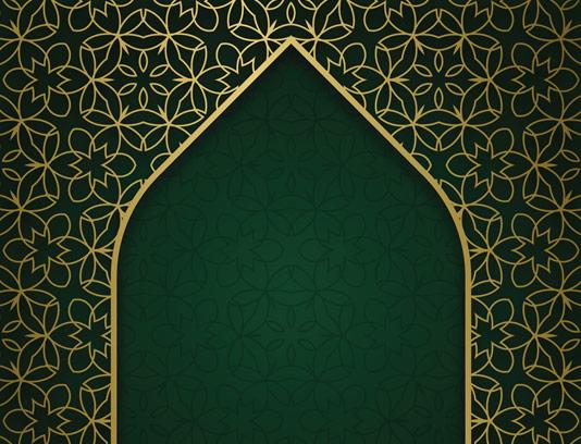 طرح وکتور اسلامی محراب مسجد با پترن اسلیمی