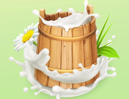 وکتور سطل چوبی شیر با کیفیت عالی