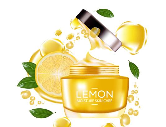 وکتور طرح لایه باز تبلیغاتی کرم مرطوب کننده پوست لیمویی
