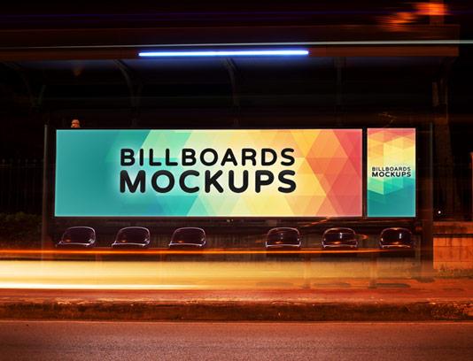 طرح لایه باز موکاپ بیلبورد تبلیغاتی ایستگاه اتوبوس