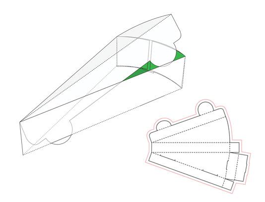 وکتور طرح صفحه گسترده و نمونه اجرا شده بسته بندی پیتزا مثلثی