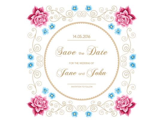 وکتور طرح سنتی کارت دعوت عروسی گل دار