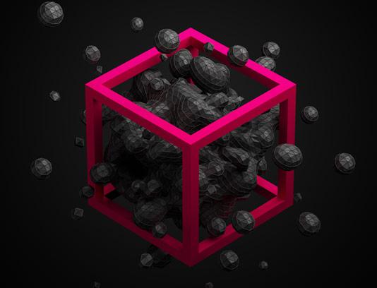 عکس با کیفیت طرح انتزاعی سه بعدی مفهومی مکعب چند وجهی