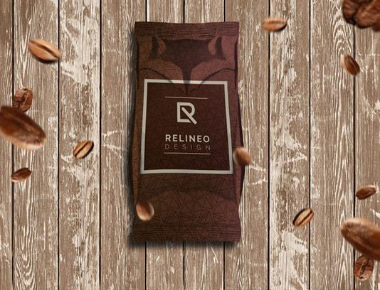 طرح لایه باز موکاپ بسته بندی آلمینیومی قهوه