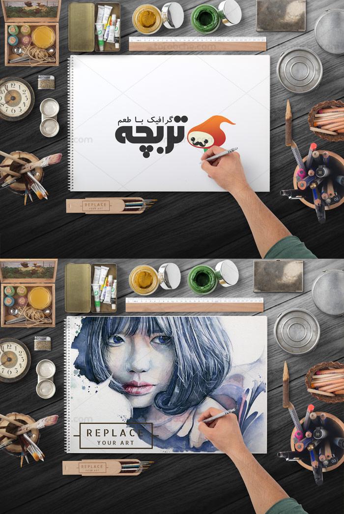 طرح لایه باز موکاپ میز کار و دفتر طراحی و نقاشی شماره ۰۱