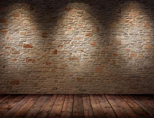 تکسچر پس زمینه با کیفیت دیوار آجری و زمین چوبی