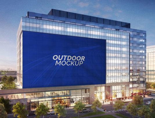 طرح لایه باز موکاپ بیلبورد تبلیغاتی نصب شده در نمای ساختمان
