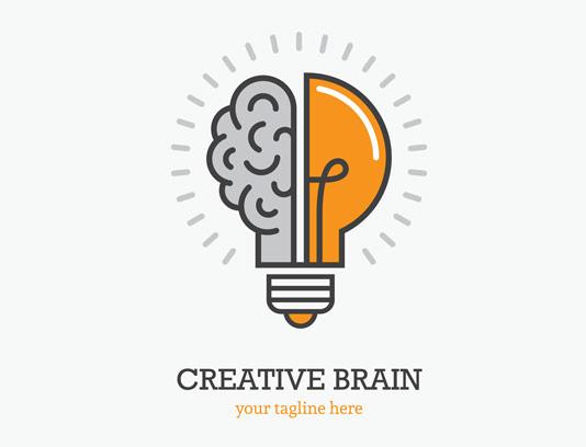 وکتور طرح لوگوی ذهن و یا مغز خلاق