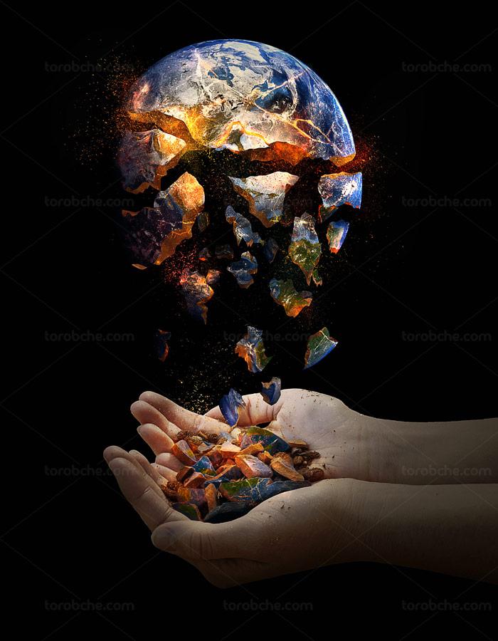 عکس با کیفیت کره ی زمین در حال نابودی