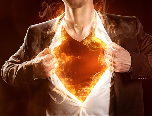عکس با کیفیت مردی با لباس آتشین