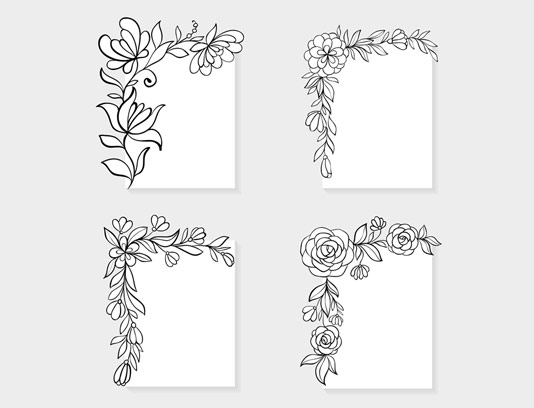 وکتور کادر و حاشیه ی گل و بوته شماره ۰۱