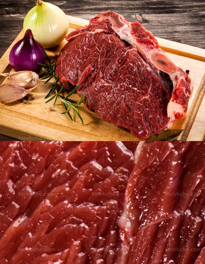 عکس با کیفیت گوشت قرمز گوساله ی تازه با پیاز