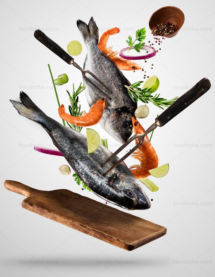 عکس با کیفیت طبخ غذاهای دریایی ماهی و میگو