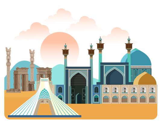 وکتور با کیفیت مکان های دیدنی ایران