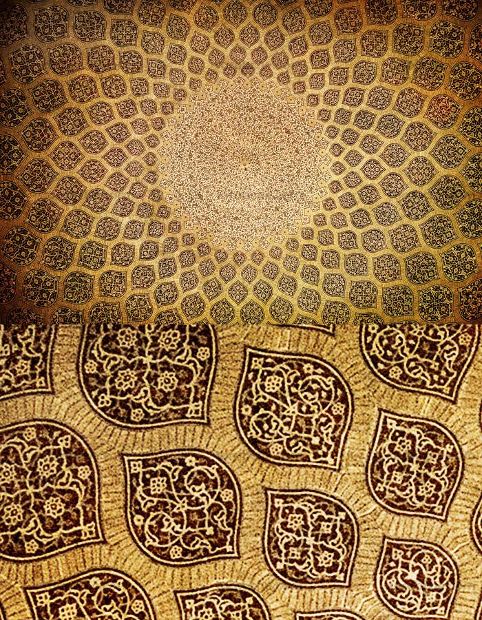 تکسچر با کیفیت طرح اسلیمی بر روی سقف آجری