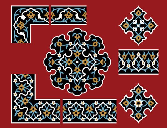 وکتور طرح کاشی کاری اسلامی شماره ۸۷