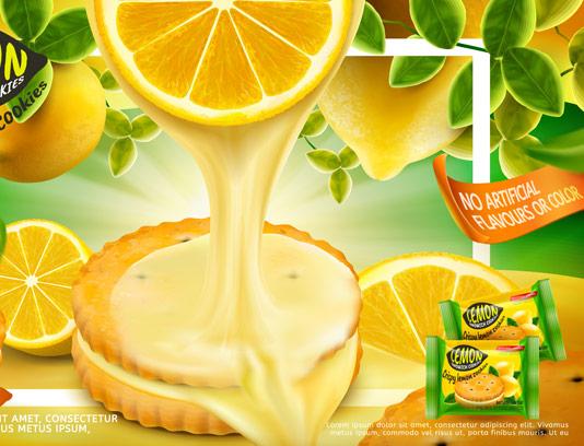 وکتور طرح لایه باز تبلیغاتی بیسکوئیت کرم دار لیمویی