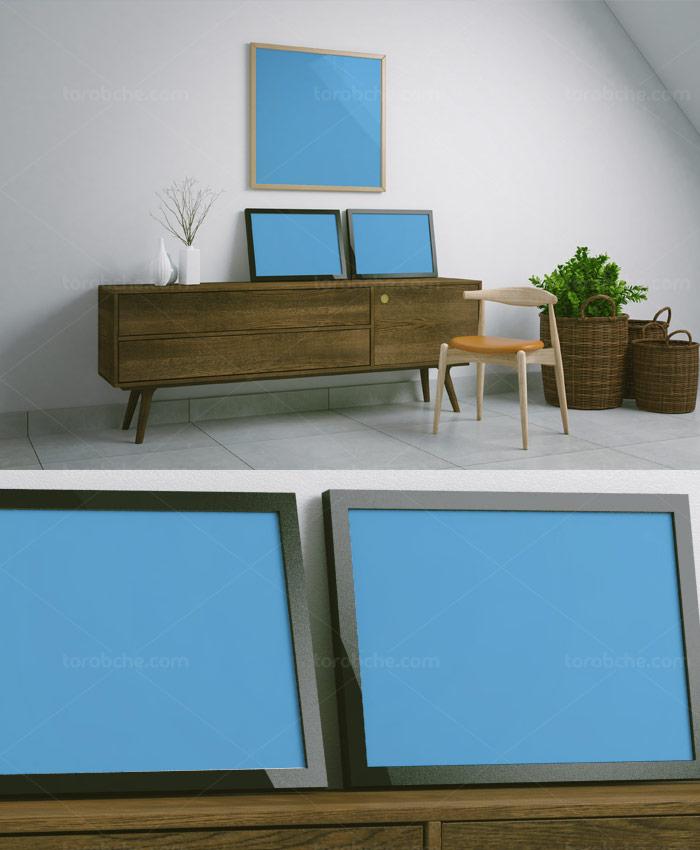 طرح لایه باز موکاپ قاب عکس سه تایی و میز چوبی