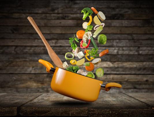 عکس با کیفیت غذای سبزیجات در قابلمه