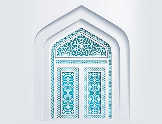 وکتور طرح اسلیمی درب مسجد با رنگ آبی فیروزه ای