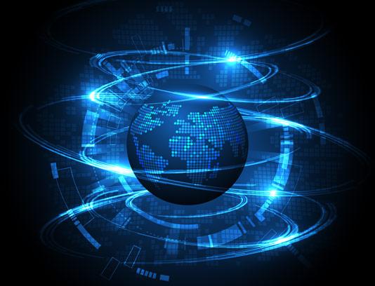 وکتور طرح کره زمین با زمینه دیجیتال و انتزاعی