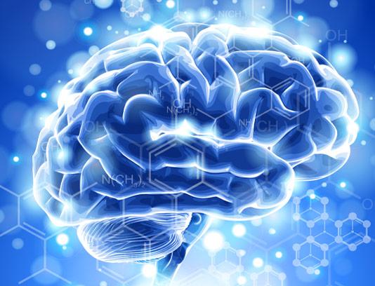 وکتور طرح مغز دیجیتال با زمینه آبی نورانی