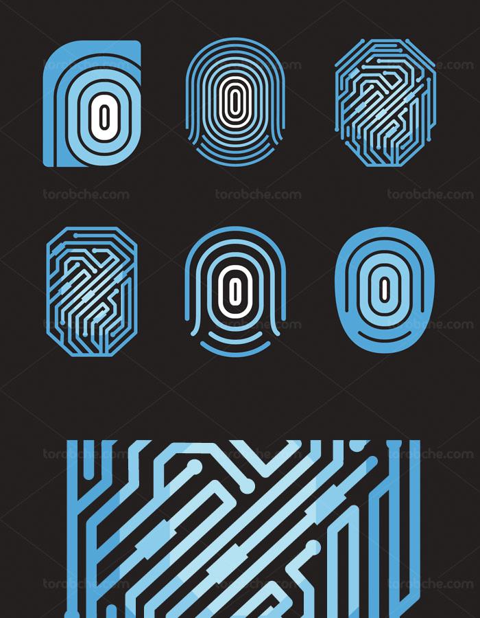 وکتور ۶ طرح لوگو اثر انگشت دیجیتال