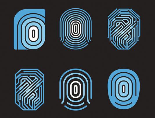 وکتور 6 طرح لوگو اثر انگشت دیجیتال
