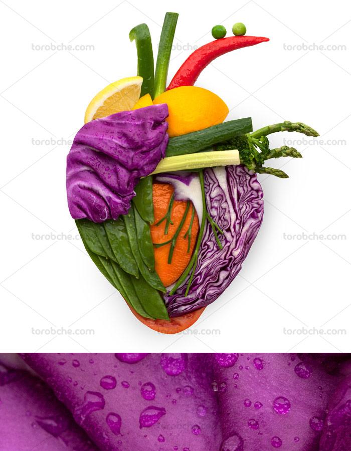 عکس با کیفیت قلب میوه ای با سبزیجات اضافه