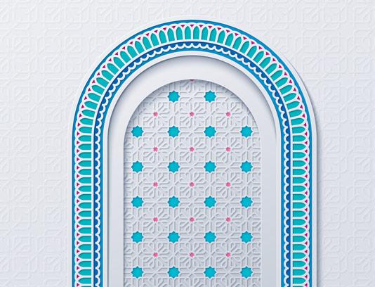 وکتور طرح پنجره ی مسجد اسلامی با رنگ آبی فیروزه ای