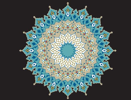 وکتور طرح کاشی کاری اسلامی شماره ۱۰۲