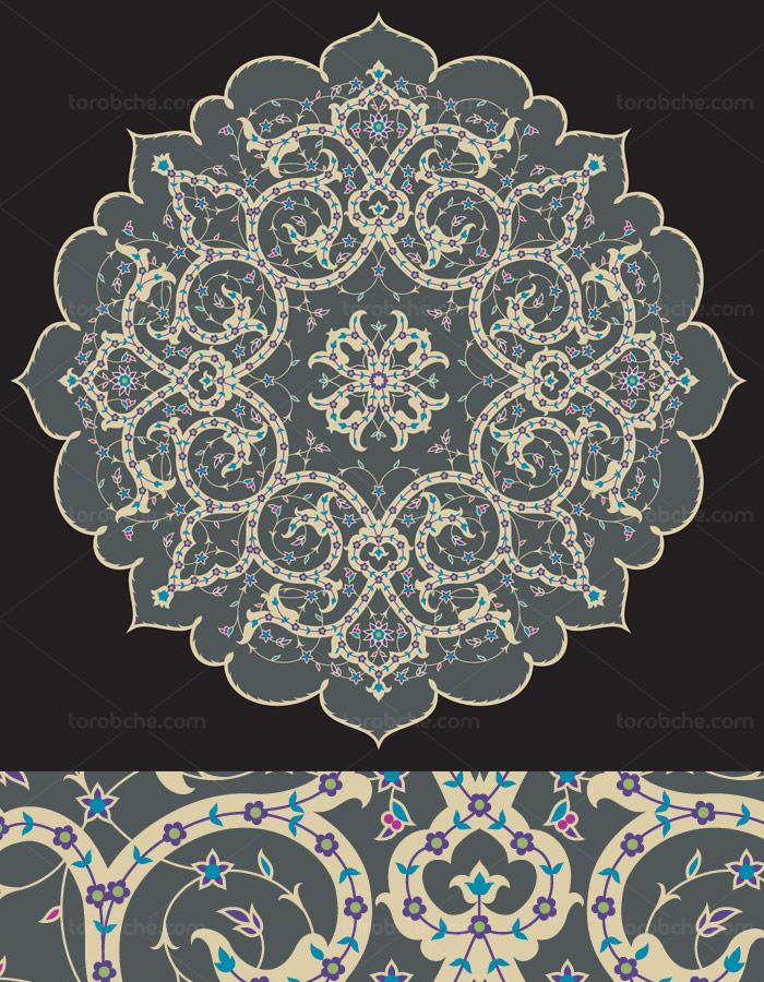 طرح لایه باز وکتور کاشی کاری اسلامی شماره ۱۰۸