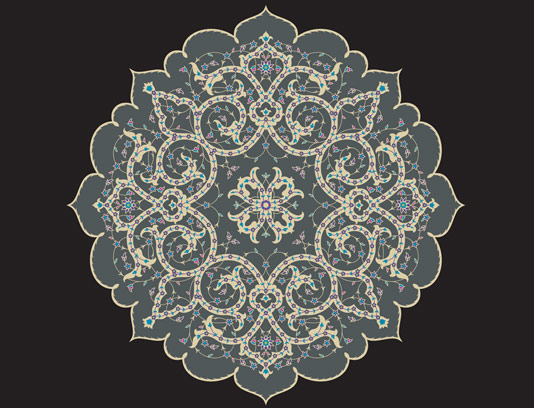 طرح لایه باز وکتور کاشی کاری اسلامی شماره 108
