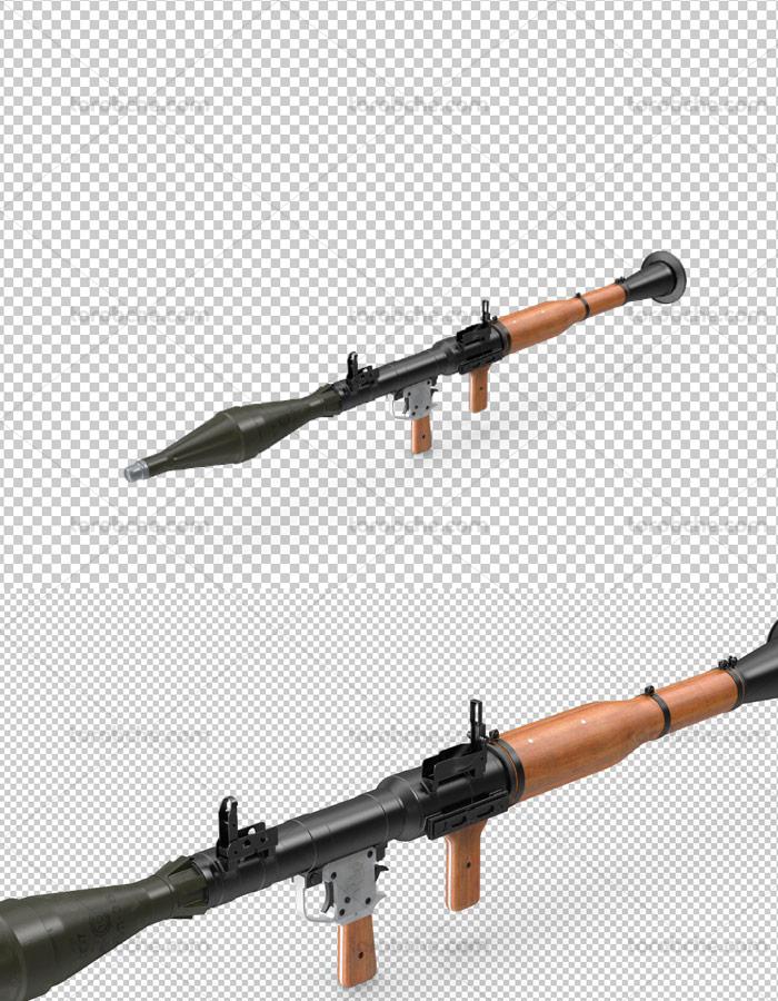 طرح لایه باز تصویر دوربری شده اسلحه RPG 7
