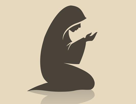 وکتور طرح نماز خواندن زن محجبه مسلمان