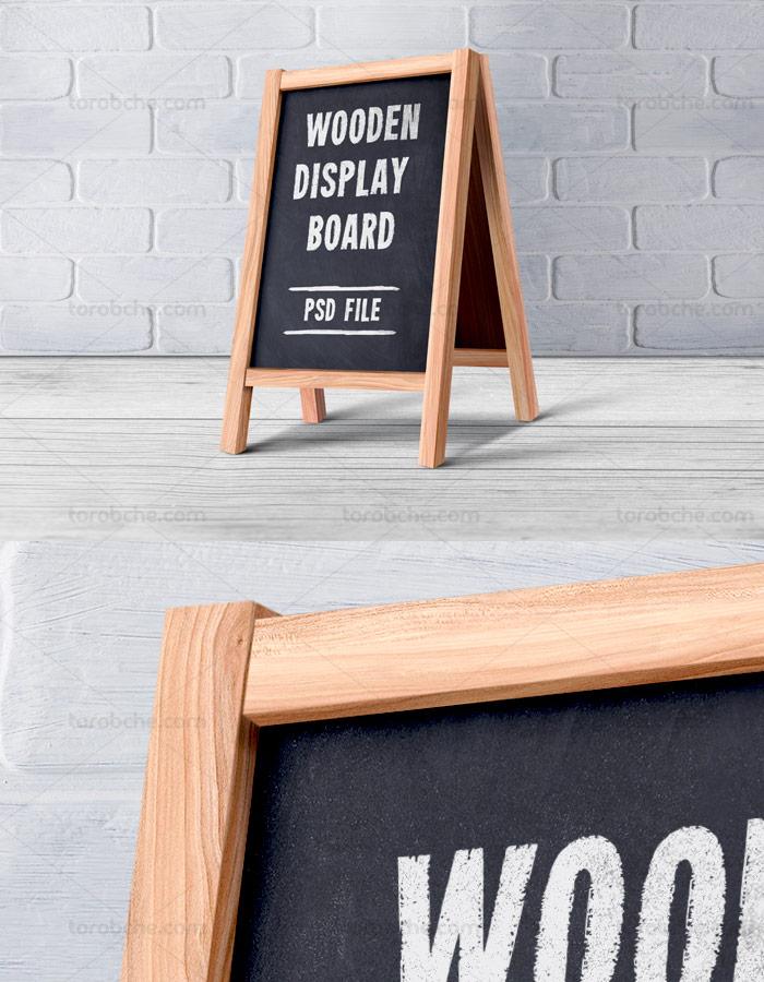 طرح لایه باز موکاپ منوی رستوران و کافی شاپ ایستاده چوبی