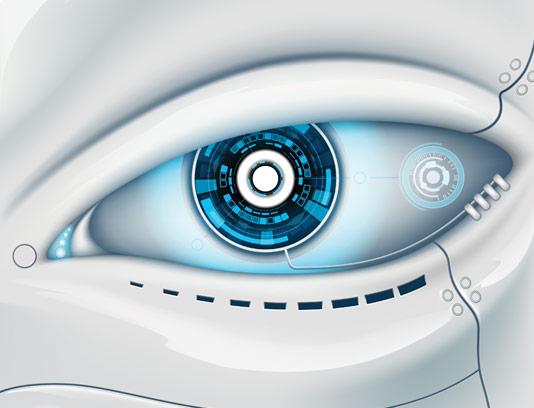وکتور طرح چشم الکترونیکی آبی رنگ