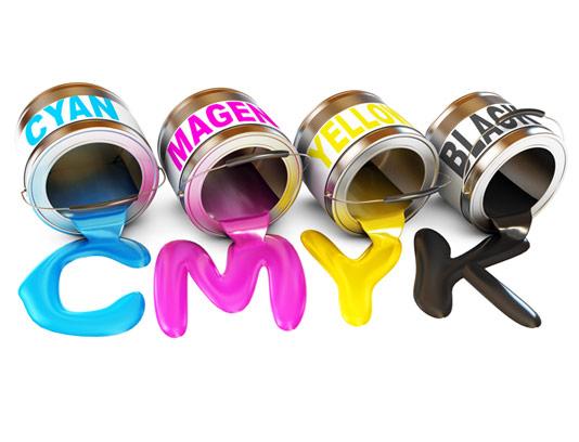 عکس با کیفیت سطل رنگ های CMYK