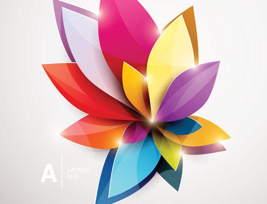 وکتور گل های انتزاعی رنگارنگ