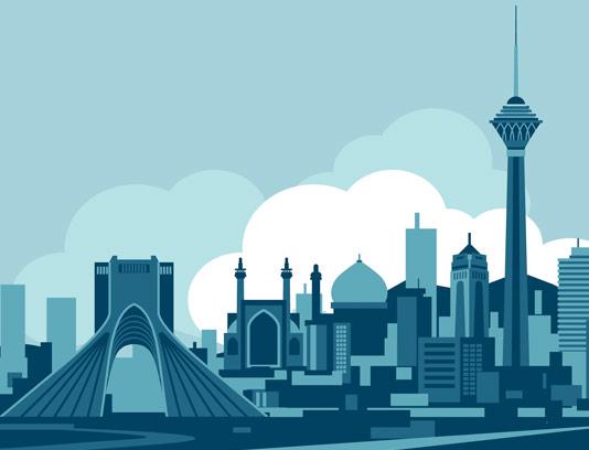 وکتور طرح تهران آبی ، برج میلاد، میدان آزادی
